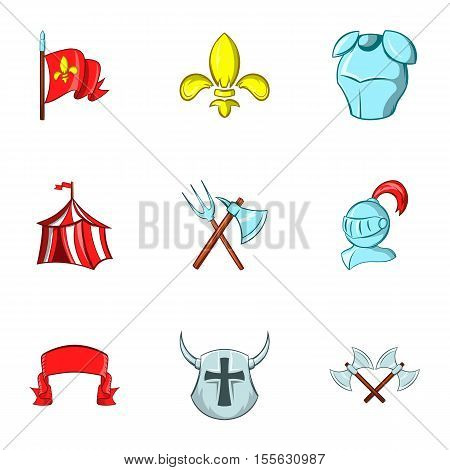 Medieval knight icons set. Cartoon illustration of 9 medieval knight vector icons for web