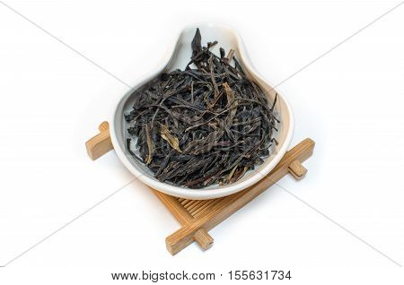 Traditional Chinese tea. Oolong tea. Tea on a white background. Feng Huang Dan Cong