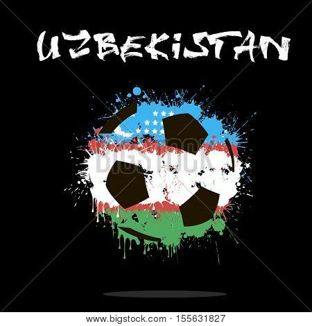 Abstract soccer ball painted in the colors of the Uzbekistan flag. Vector illustration