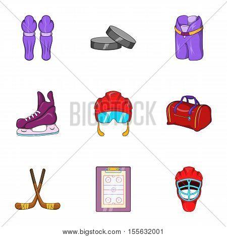 Canadian hockey icons set. Cartoon illustration of 9 canadian hockey vector icons for web