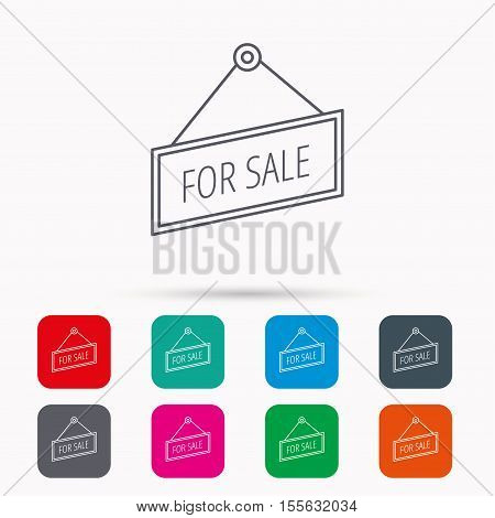 For sale icon. Advertising banner tag sign. Linear icons in squares on white background. Flat web symbols. Vector