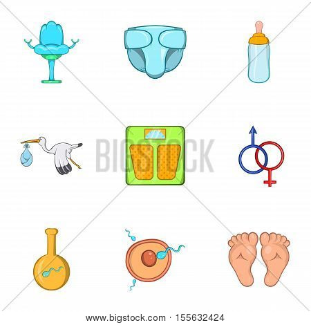 Expectant mother icons set. Cartoon illustration of 9 expectant mother vector icons for web