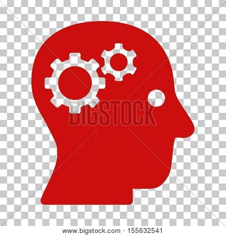 Red Intellect Gears toolbar icon. Vector pictogram style is a flat symbol on chess transparent background.