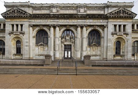 Washigton DC USA - January 10 2016: The District of Columbia Public Library (DCPL) is the public library system for residents of Washington D.C. The system includes 25 individual libraries including Martin Luther King Jr. Memorial Library (the central lib