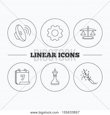 Scales of justice, sound and strategy icons. Slapstick linear sign. Flat cogwheel and calendar symbols. Linear icons in circle buttons. Vector