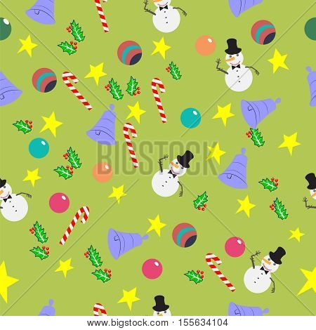 Seamless pattern with cute cartoon Christmas bells, candy cane, holly berries, smiling snowman, balls and stars