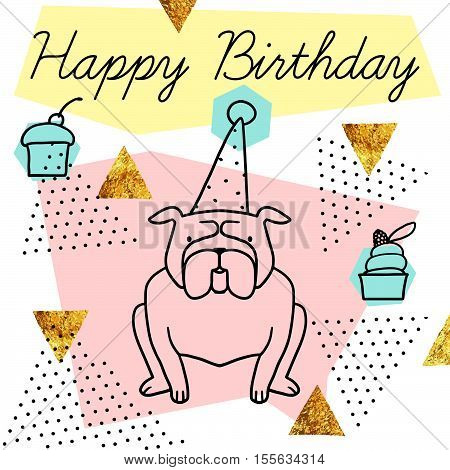 Vector postcard Happy Birthday isolated on white background with gold glitter. Cute postcard with cartoon dog, texture and geometric shapes. Ready to print.
