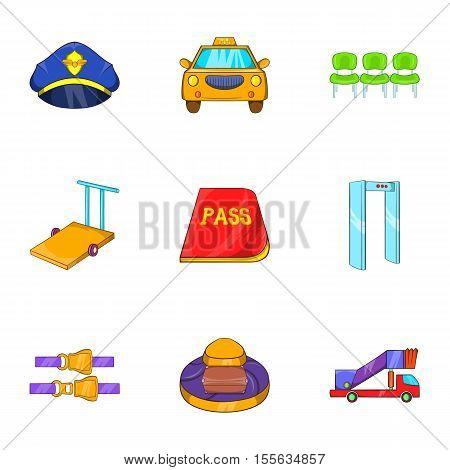 Flights icons set. Cartoon illustration of 9 flights vector icons for web