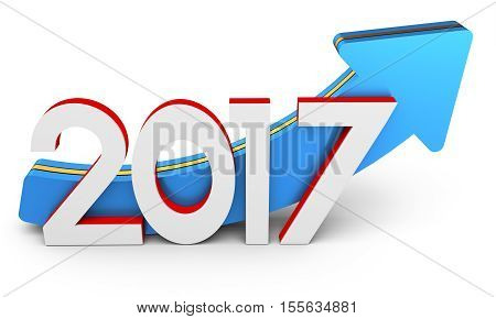 Happy New Year 2017 Text With Arrow