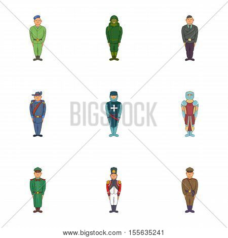 Soldiers icons set. Cartoon illustration of 9 soldiers vector icons for web