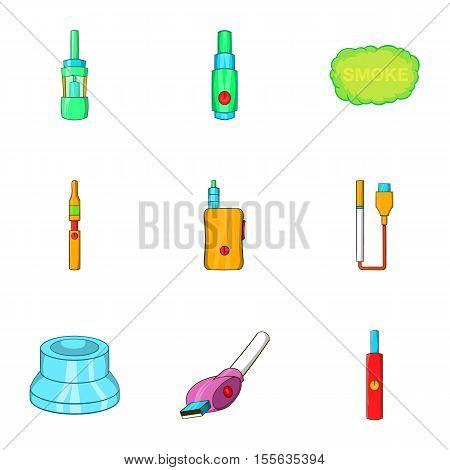 Electronic smoking cigarette icons set. Cartoon illustration of 9 electronic smoking cigarette vector icons for web
