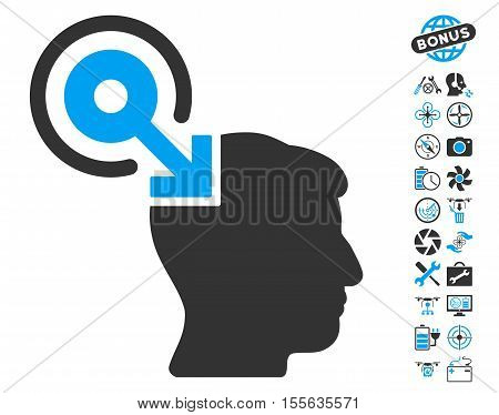 Brain Interface Plug-In icon with bonus copter service symbols. Vector illustration style is flat iconic blue and gray symbols on white background.