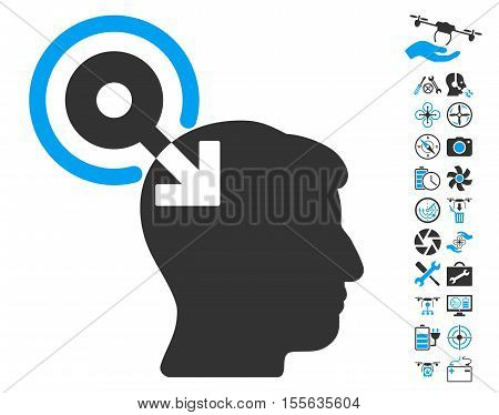 Brain Interface Plug-In pictograph with bonus flying drone tools symbols. Vector illustration style is flat iconic blue and gray symbols on white background.