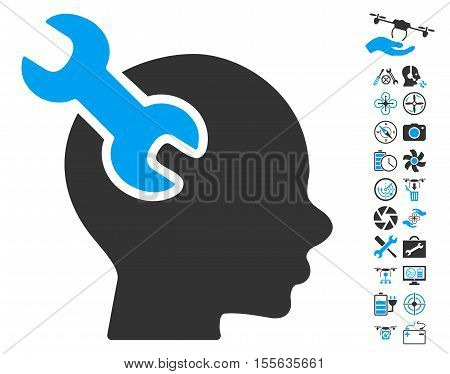 Brain Service Wrench icon with bonus copter tools icon set. Vector illustration style is flat iconic blue and gray symbols on white background.