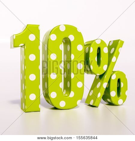 3d render: green 10 percent, percentage discount sign on white, 10%, texture with large polka dots