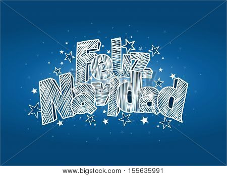FELIZ NAVIDAD -Merry Christmas in Spanish language- Blue cover of greeting card. Layout size: 15 cm x 11 cm. Lettering design