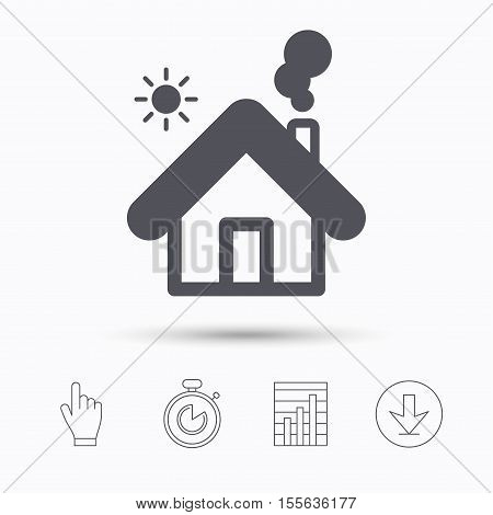 Home icon. House building symbol. Real estate construction. Stopwatch timer. Hand click, report chart and download arrow. Linear icons. Vector