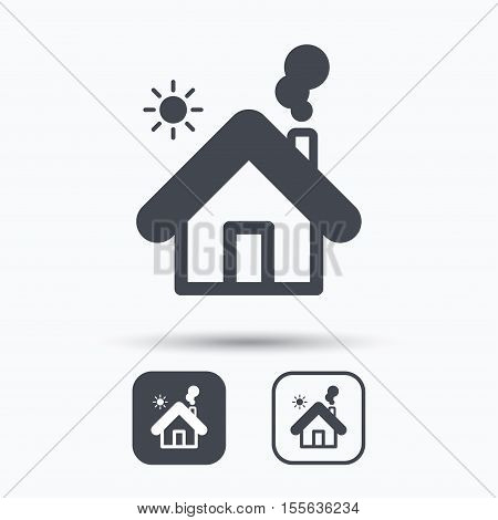 Home icon. House building symbol. Real estate construction. Square buttons with flat web icon on white background. Vector