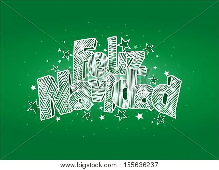FELIZ NAVIDAD -Merry Christmas in Spanish language- Green cover of greeting card. Layout size: 15 cm x 11 cm. Lettering design