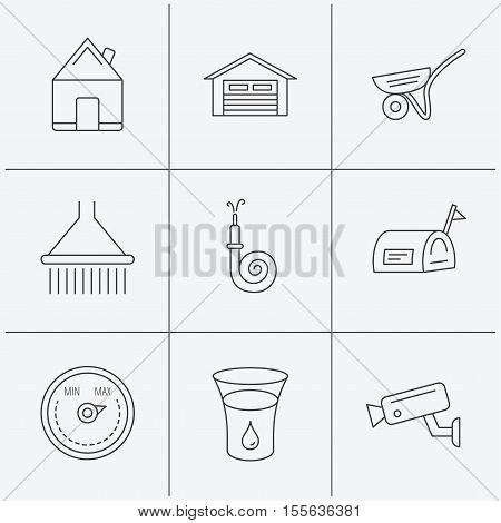 Real estate, garage and heat regulator icons. Trolley, fire hose and mailbox linear signs. Shower, glass of water and video monitoring icons. Linear icons on white background. Vector