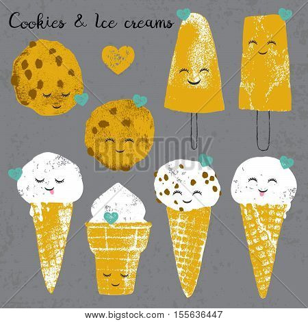 Vector set with ice creams and cookies and hearts in cartoon and grunge style isolated on grey scratched background for textile, wallpaper, fabric, postcard and others