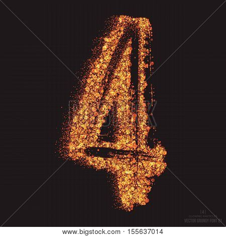 Vector grungy font 001. Number 4. Abstract bright golden shimmer glowing round particles vector background. Scatter shine tinsel light effect. Hand made grunge shape design element