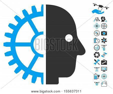 Cyborg Head icon with bonus uav service pictograms. Vector illustration style is flat iconic blue and gray symbols on white background.