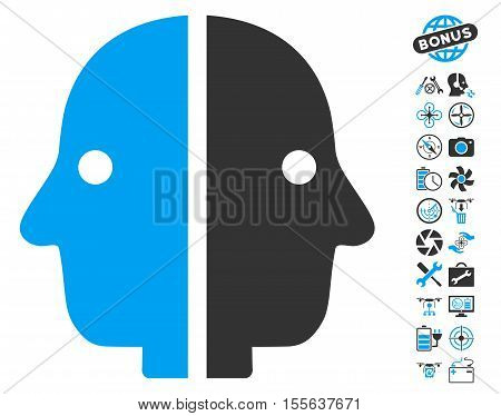 Dual Face pictograph with bonus drone tools symbols. Vector illustration style is flat iconic blue and gray symbols on white background.