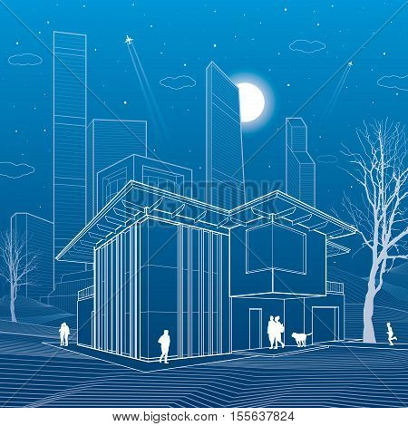 Modern house. People walking. Business center on background. Architecture and urban illustration, night scene, neon city, white lines, skyscrapers and towers, vector design art