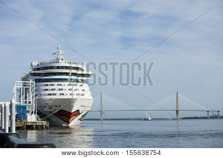 CHARLESTON, SOUTH CAROLINA-OCTOBER 27, 2016: The Aida Luna comes into port in Charleston, South Carolina. Aida is a German cruise line.