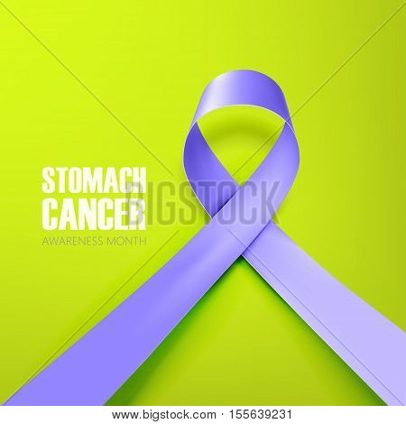 stomach and esophageal cancer awareness month with ribbon on green background