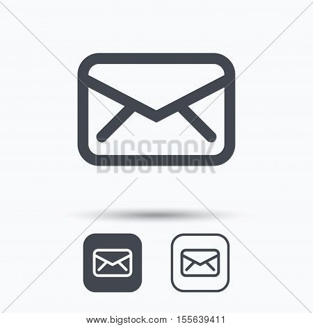 Envelope icon. Send email message sign. Internet mailing symbol. Square buttons with flat web icon on white background. Vector