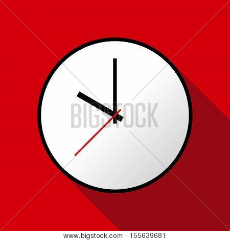 Clock icon, Vector illustration, flat design. Easy to use and edit. EPS10. Red background with shadow.