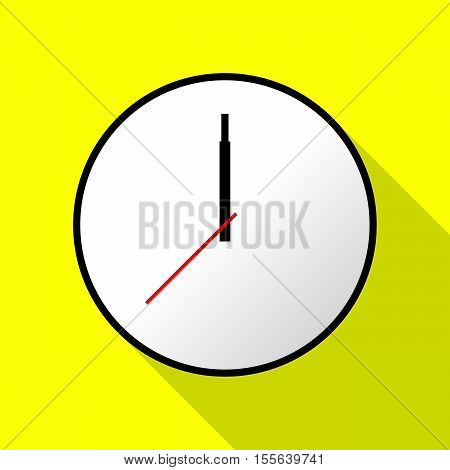 Clock icon, Vector illustration, flat design. Easy to use and edit. EPS10. Yellow background with shadow.
