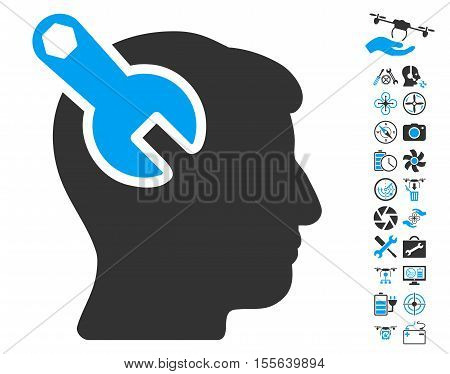 Head Neurology Wrench pictograph with bonus flying drone service design elements. Vector illustration style is flat iconic blue and gray symbols on white background.