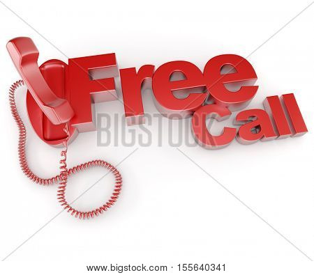 3D rendering of an unhooked telephone receiver with the words free call
