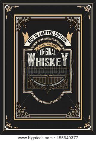 Vintage label design for Whiskey and Wine label, Restaurant banner, Beer label. Vector illustration