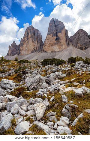 view of Tre Cime di Lavaredo - well-known italian Dolomiti rock massive
