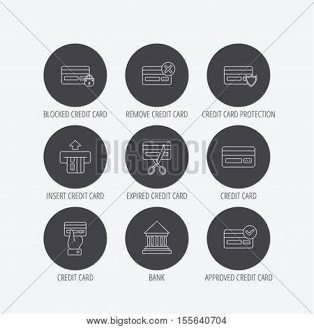 Bank credit card icons. Banking, blocked and expired debit card linear signs. Money transactions and shopping icons. Linear icons in circle buttons. Flat web symbols. Vector