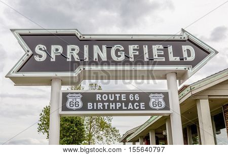 Springfield Missouri USA- May 18 2014. Springfield road arrow sign in best western route 66 rail haven.