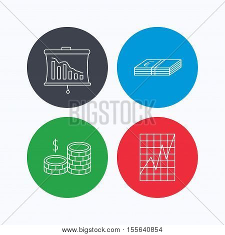 Chart, cash money and statistics icons. Coins linear sign. Linear icons on colored buttons. Flat web symbols. Vector