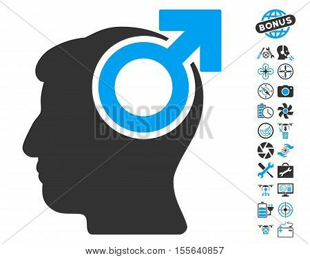 Intellect Potency pictograph with bonus copter service pictograph collection. Vector illustration style is flat iconic blue and gray symbols on white background.