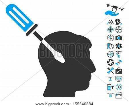 Intellect Screwdriver Tuning pictograph with bonus quadrocopter tools clip art. Vector illustration style is flat iconic blue and gray symbols on white background.