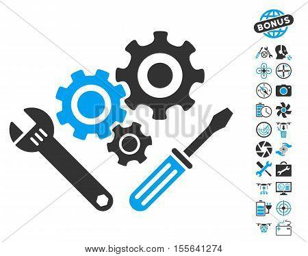 Mechanics Tools pictograph with bonus uav tools icon set. Vector illustration style is flat iconic blue and gray symbols on white background.
