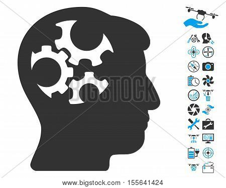 Mind Gears pictograph with bonus drone service pictures. Vector illustration style is flat iconic blue and gray symbols on white background.
