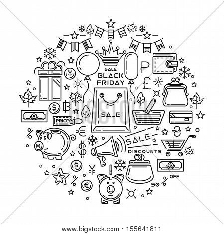 Black Friday line icon set. Big Holiday Sale logo design. Vector illustration