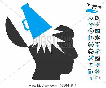 Open Brain Megaphone icon with bonus uav tools pictograph collection. Vector illustration style is flat iconic blue and gray symbols on white background.