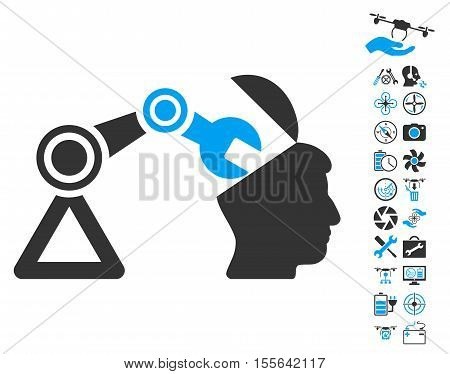 Open Head Surgery Manipulator icon with bonus drone service pictograph collection. Vector illustration style is flat iconic blue and gray symbols on white background.