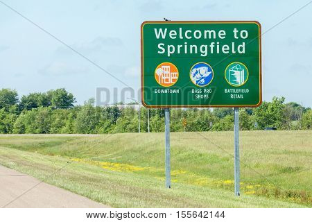 Springfield Missouri USA- May 18 2014. Road sign of Welcome to Springfield in Missouri.