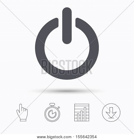 On, off power icon. Energy switch symbol. Stopwatch timer. Hand click, report chart and download arrow. Linear icons. Vector